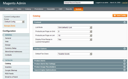 Magento Catalog eCommerce options - click for larger screenshot