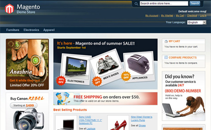Magento Sample Home Page - How to Customize Layout and Desig