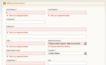 Magento eCommerce - view larger screenshot for customizing form field validation layout