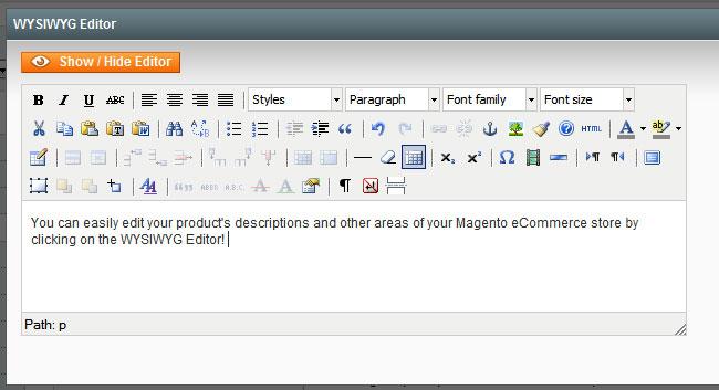 Magento's WYSIWYG Editor