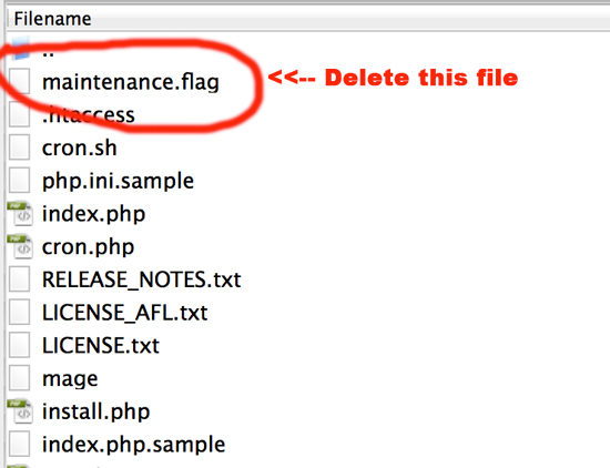 Delete Maintenance.flag file to return Magento Site Back to Normal