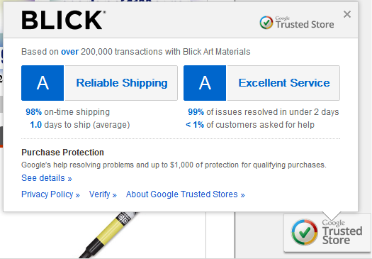 Google eCommerce Trusted Badge