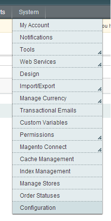 Magento System Configuration Settings