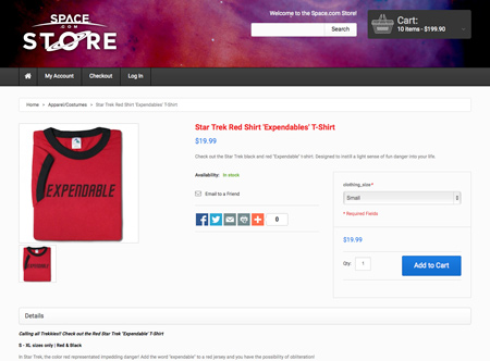 Expendable t-shirt from Space.com