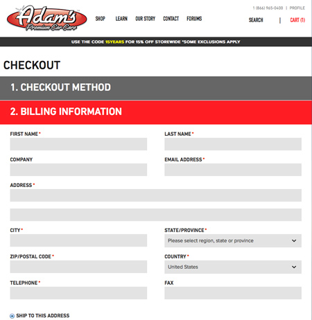 Default Responsive Magento Checkout Process