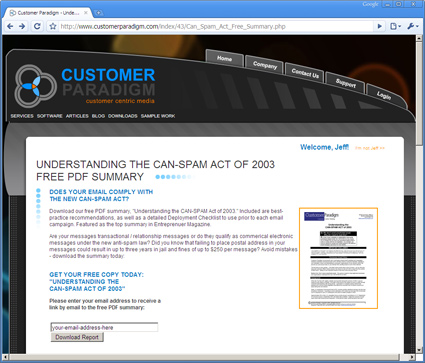 Can Spam Act Summary Page