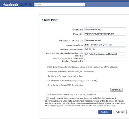 Facebook Places - register your location