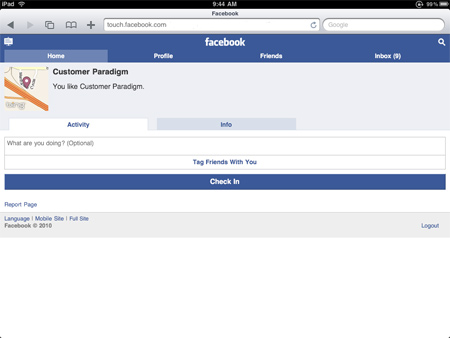 Facebook Places - iPad Checkin