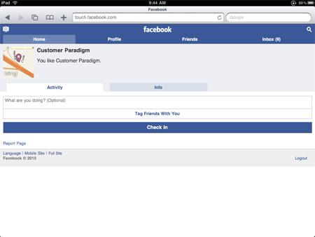 Facebook Places - iPad Checkin