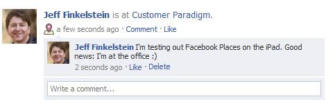 Facebook Posting for Facebook Places