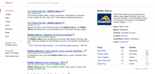 Google Knowledge Graph Buffalo Sabres