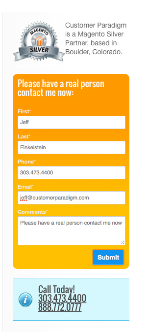Customer Paradigm Contact Form