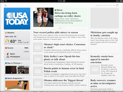 iPad - USA Today reader application