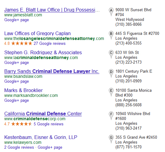 """Screenshot of Google Search Results for """"Los Angeles Criminal Defense Attorney"""""""