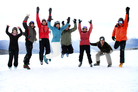 Group Ski Photographer Shot