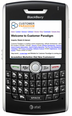 Mobile version of Customer Paradigm's website - using php