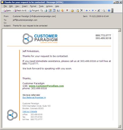 customer paradigm confirmation email