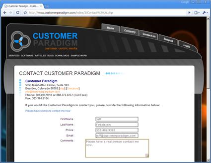 Customer Paradigm Contact Form