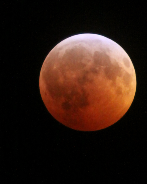 Red glow of the moon during Lunar Eclipse