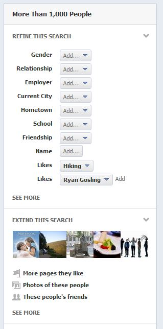 Facebook Graph Search Extended Search