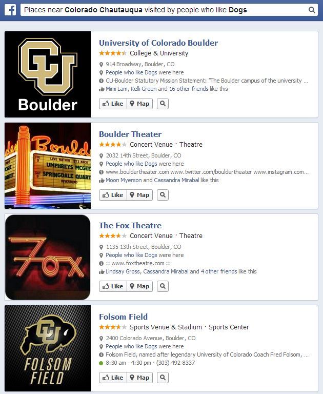 Facebook Graph Search-Places near Colorado Chautauqua visited by people who like Dogs