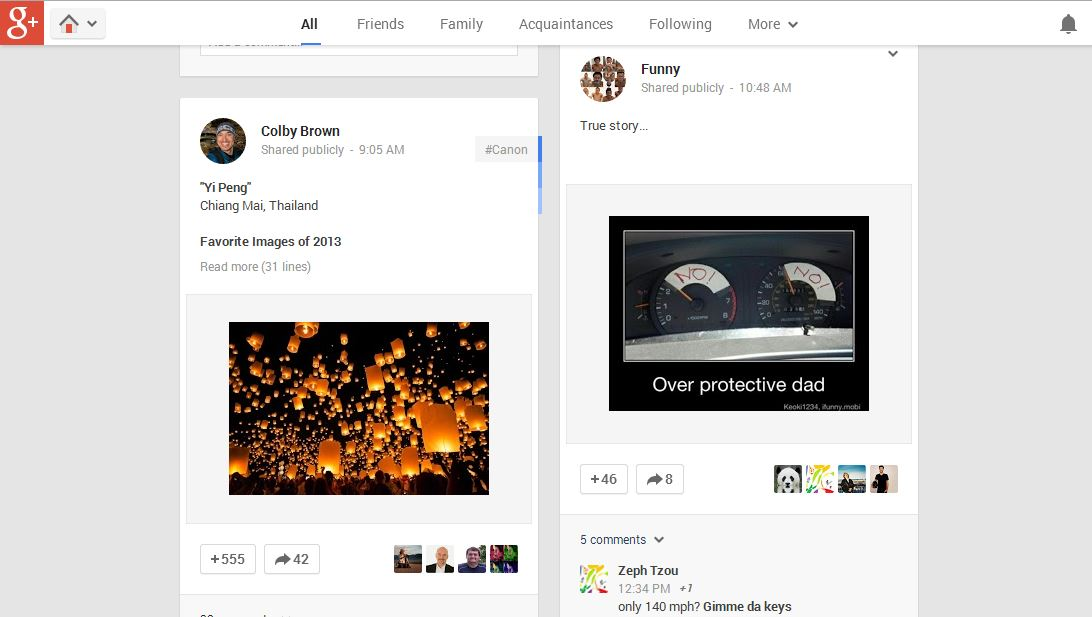 Google+ Feed Screenshot
