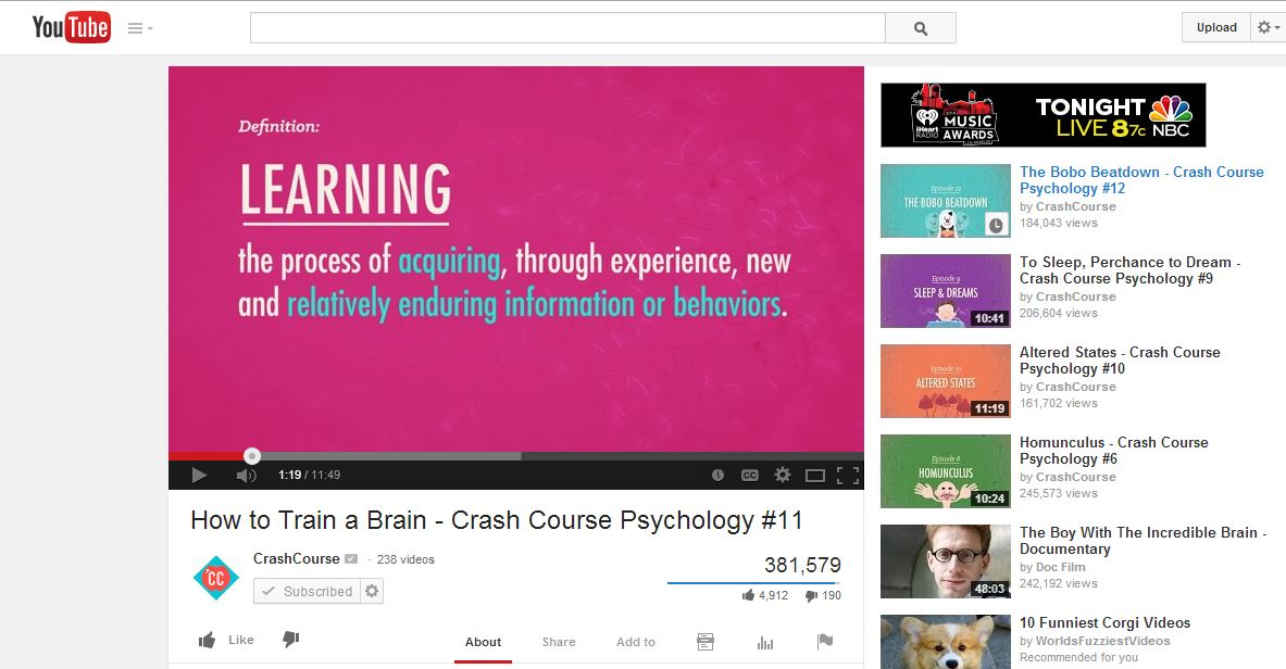 YouTube Screenshot of CrashCourse - Future of Content Marketing
