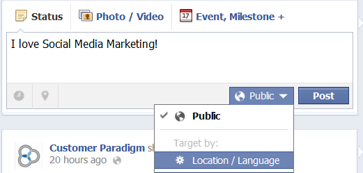 Location and Language Targeting for Posts on Facebook