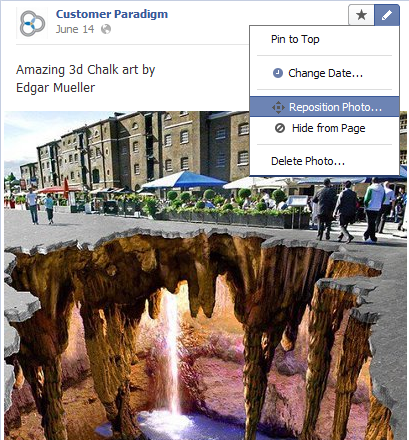 Facebook Re Positioning an Image Post
