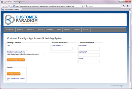 An admin user can easily schedule an appointment for an end user, through the admin interface