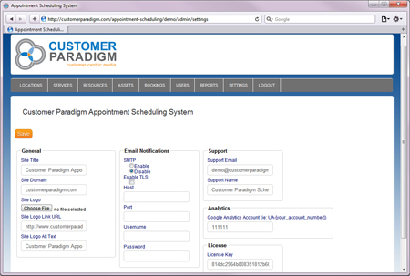 Online Appointment Scheduling Software System - Admin Settings Area