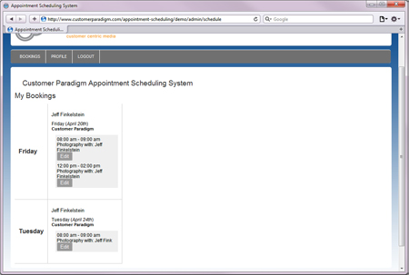 Employee View of Online Appointment Scheduling System: