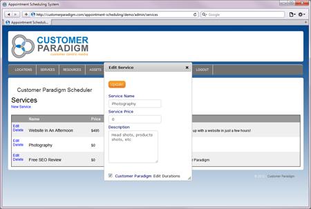 Editing a Service via the Admin User