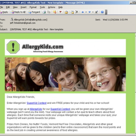 Allergy Kids – HTML Email Campaigns
