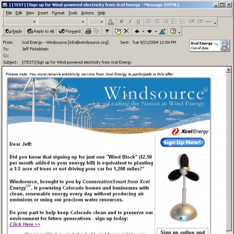 Windsource – Xcel Energy – HTML Email Campaign