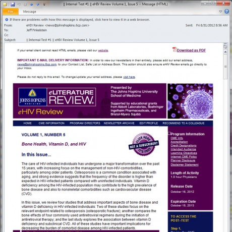 Johns Hopkins University – eHIV – HTML email