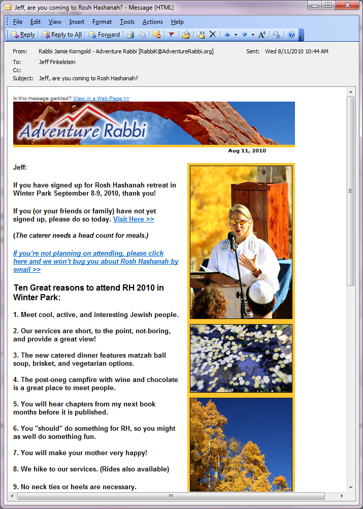 Email Campaign for Adventure Rabbi - advanced tracking and layout