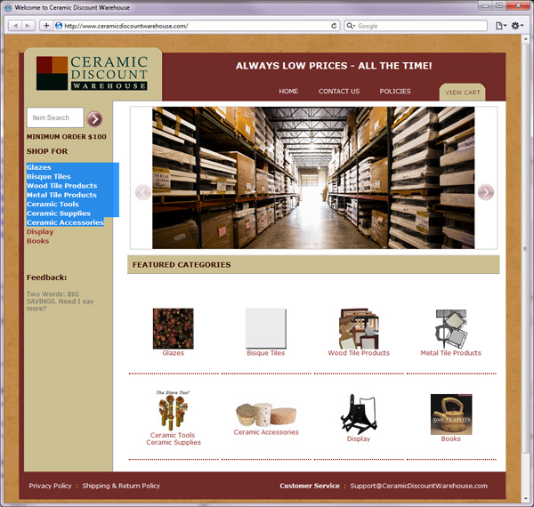 Website for Ceramic Discount Warehouse - ship for Glazes, Bisque tiles, Wood Tile produces, ceramic supplies and accessories