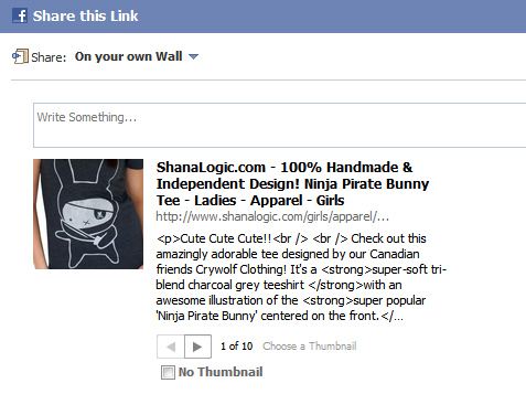 Why does Facebook show HTML code when I share or like a product in my Magento Store?