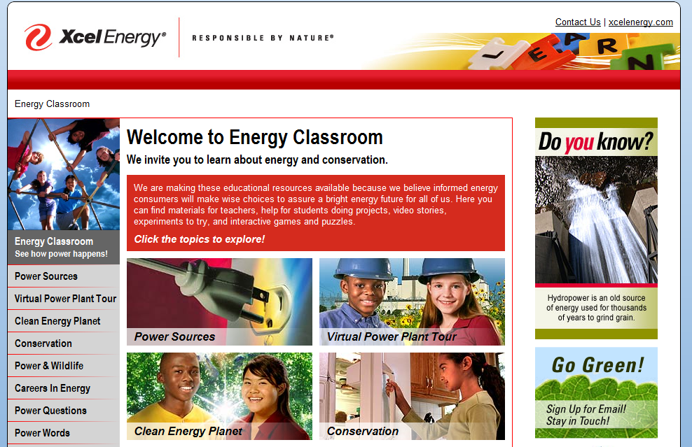 WordPress Website: Xcel Energy – EnergyClassroom