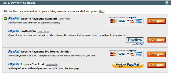 Magento Admin Community 1.7.0.2 Screenshot - PayPal Payment Solutions Options