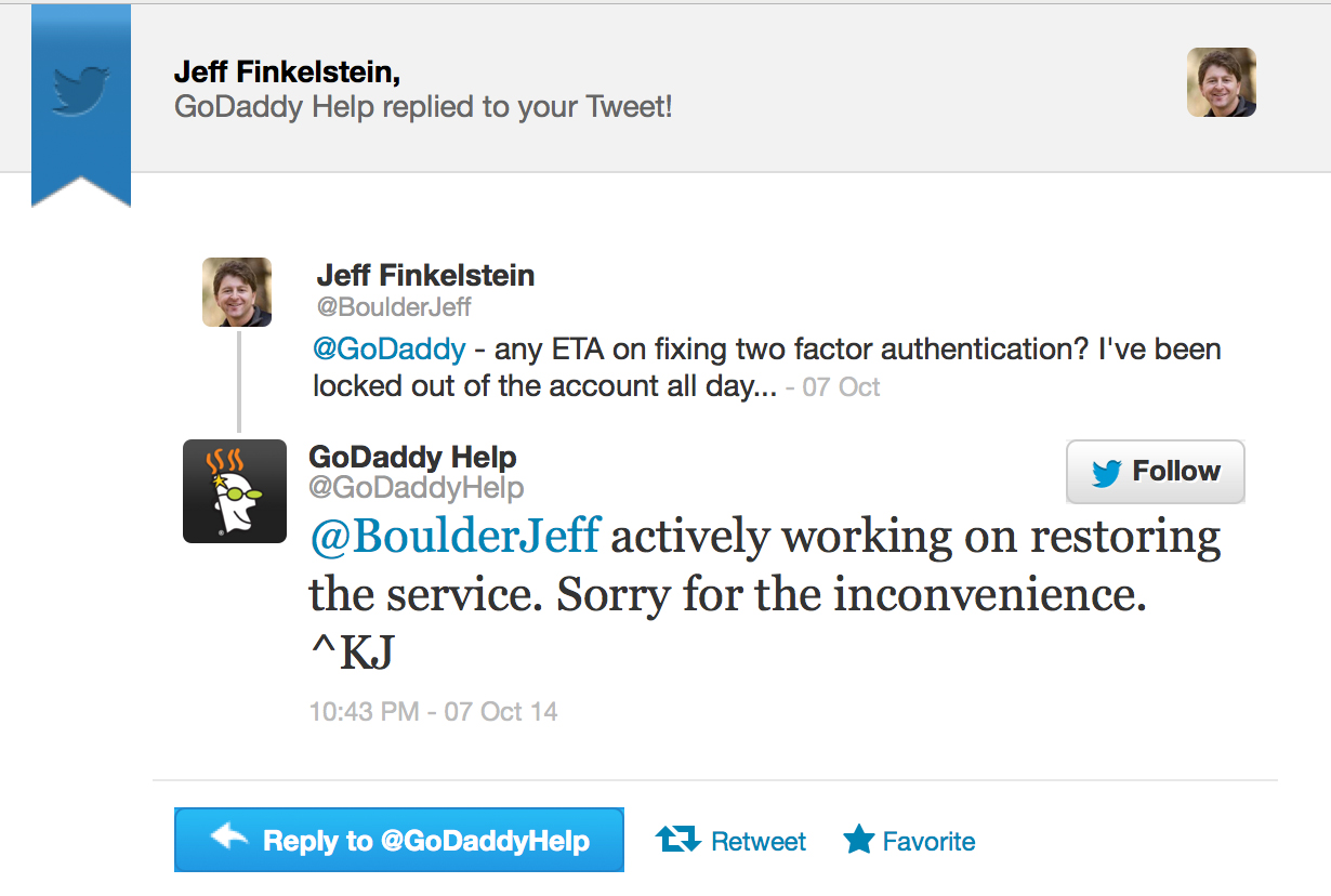 Godaddy's Support Tweeted About Outage