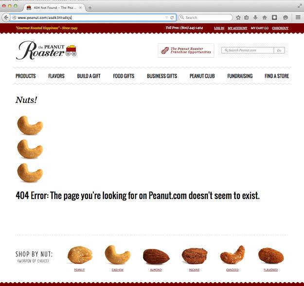 Punny Error 404 Page for Peanut.com
