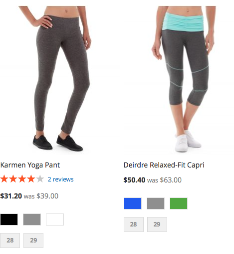 An example of a Catalog Price Rule that takes 20% off women's pants
