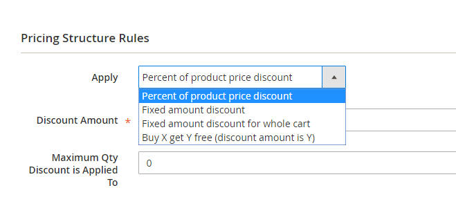 select percent of product price discount
