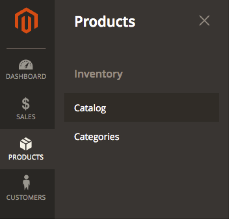 Go to the Products Menu and Select Catalog
