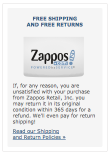 Zappos Returns Information on Cart Checkout Page