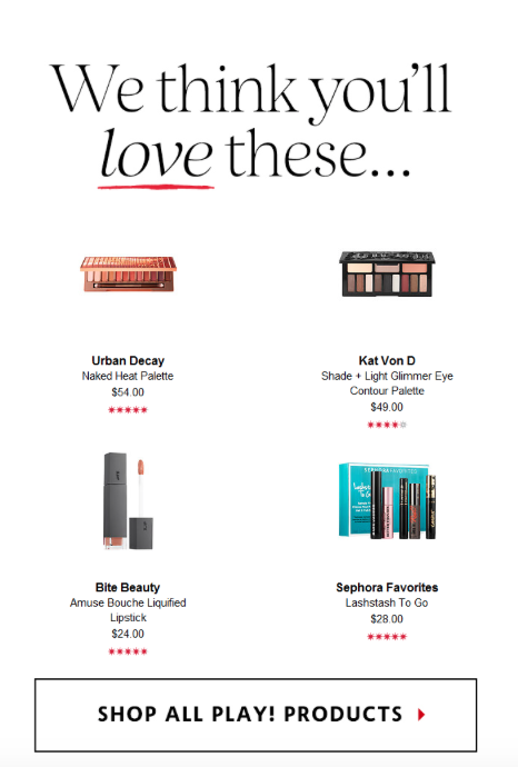 Sephora Play Email Personalized Suggestions