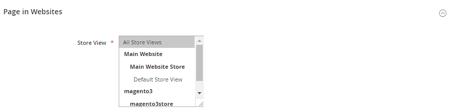 Magento 2 Page Creation Store Views
