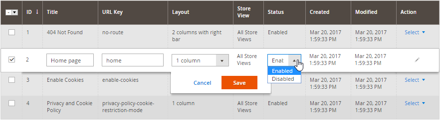 Magento 2 Pages Management Table Edits